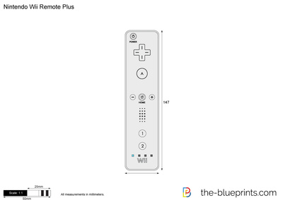 400x283 Nintendo Wii Remote Plus Vector Drawing