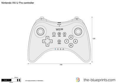 400x283 Nintendo Wii U Pro Controller Vector Drawing