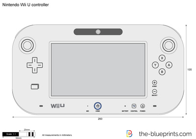 400x283 Nintendo Wii U Controller Vector Drawing
