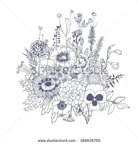 450x470 Floristic Composition. Bouquet Of Wildflowers. Vector Hand Drawn