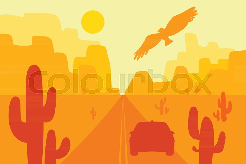 800x534 Desert Landscape With Eagle, Cactus And Sun. Wild West. Vector