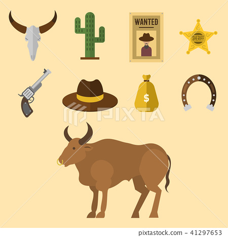 450x468 Wild Western Vector Cowboy Icons Rodeo Equipment And Many