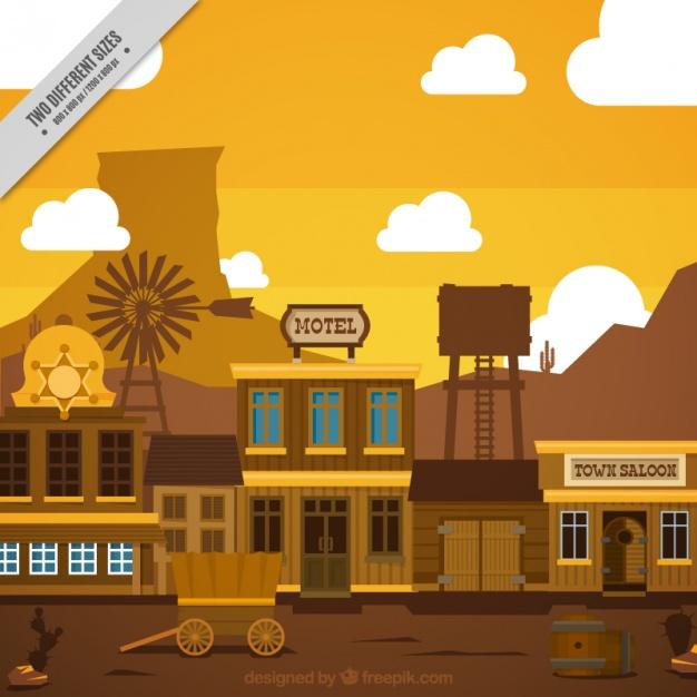 626x626 Flat Wild West Scene In Brown Tones Vector Free Download