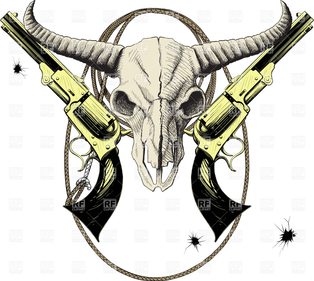 1200x1076 Mascot Of The Wild West With Skull Bison And Revolvers In Lasso