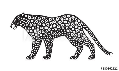 500x300 Decorative Stylized Jaguar Wildcat. Vector Animal Illustration