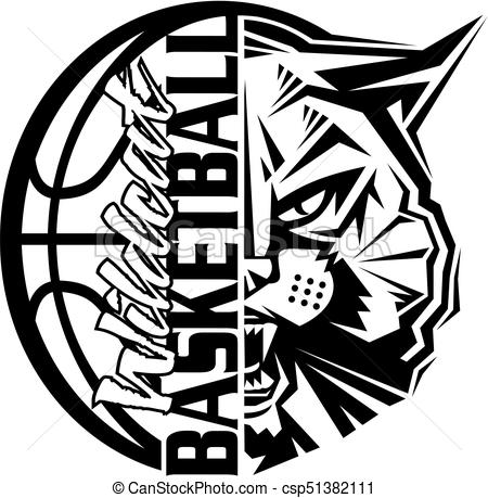450x459 Wildcat Basketball Team Design With Ball And Mascot For School