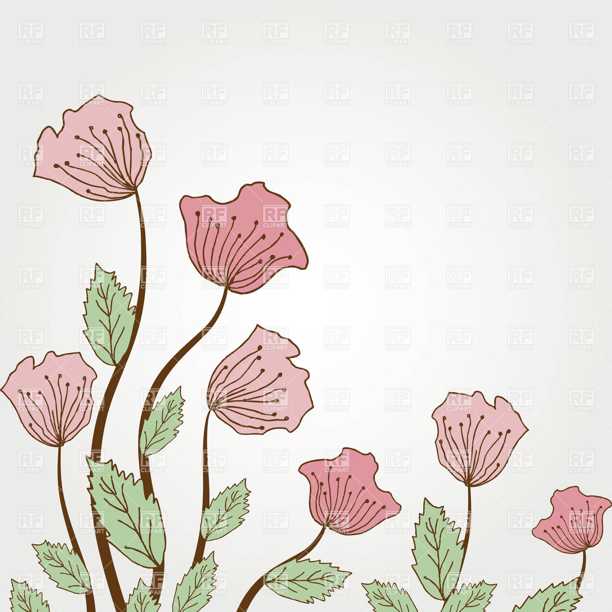 1200x1200 Pink Wildflowers Clipart