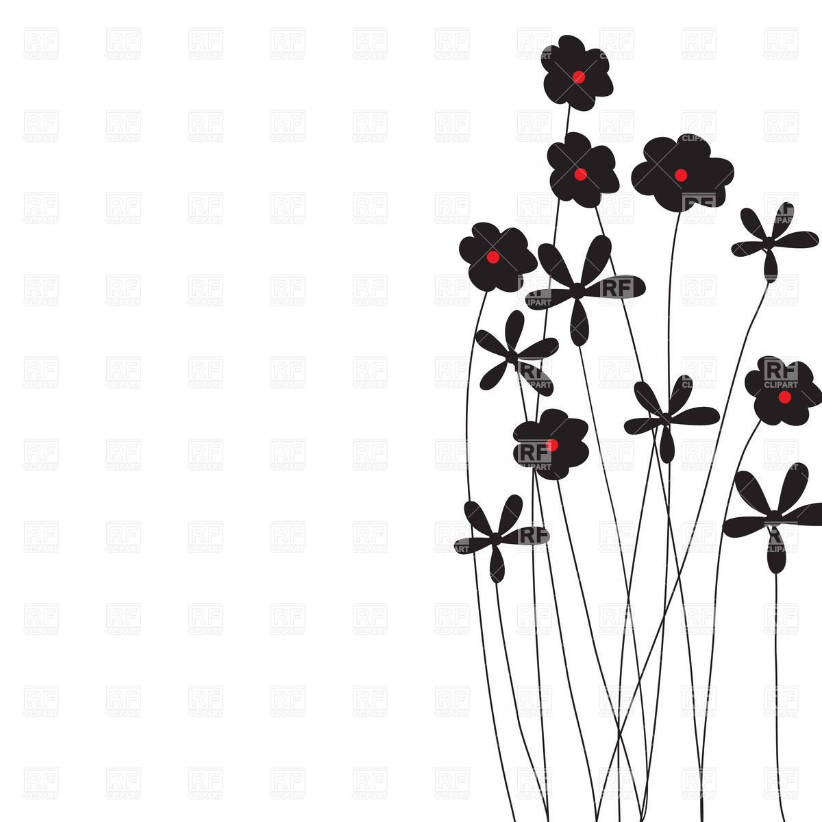 1200x1200 Silhouettes Of Simple Wildflowers Vector Image Vector Artwork Of