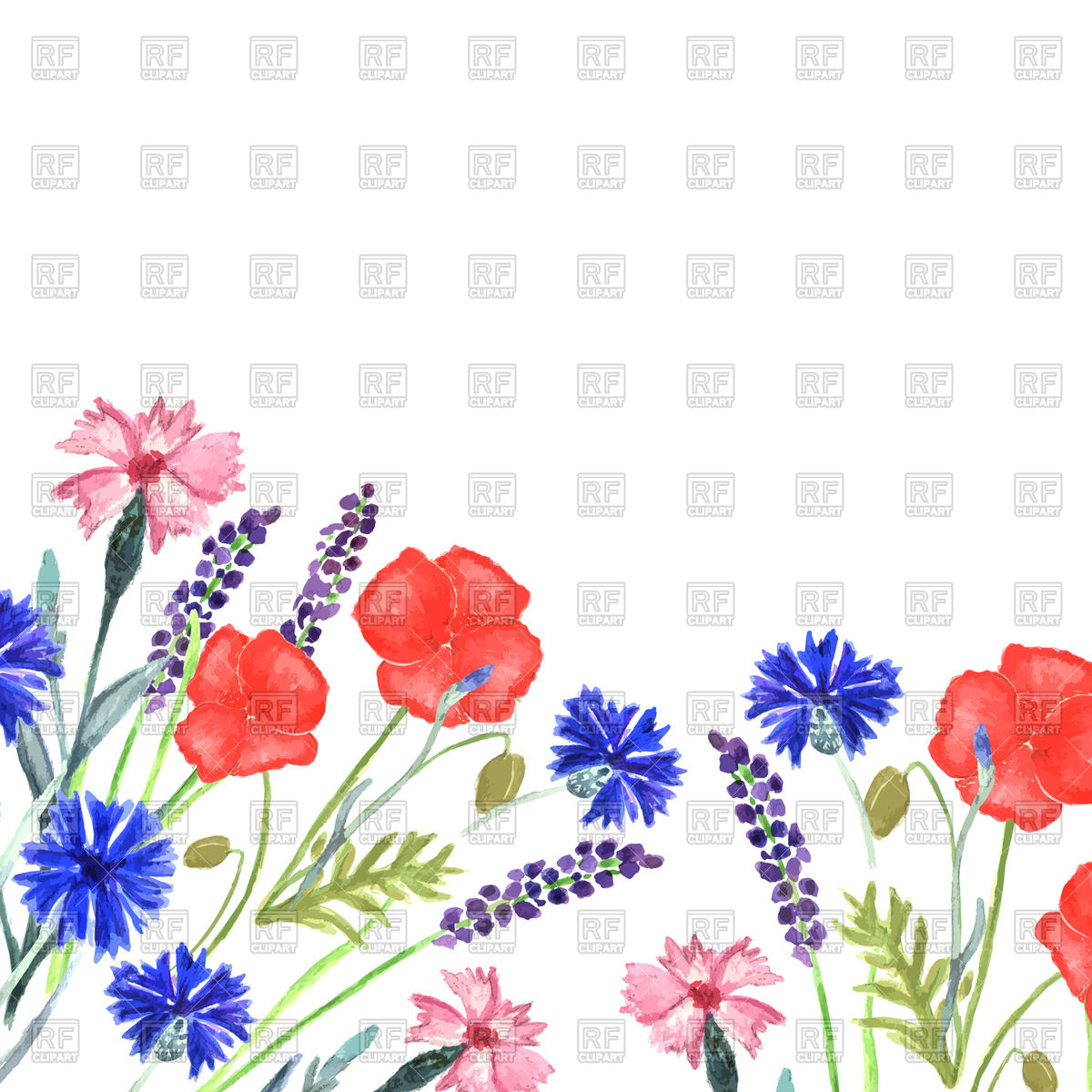1200x1200 Watercolor Wildflowers Vector Image Vector Artwork Of Plants And