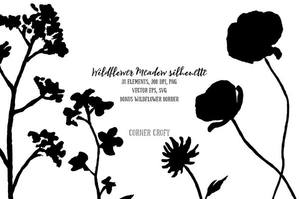 600x399 Wildflower Meadow Silhouette Png, Svg And Eps For Instant Download