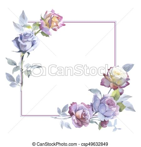 450x470 Wildflower Rose Flower Frame In A Vector Style. Full Name Of The