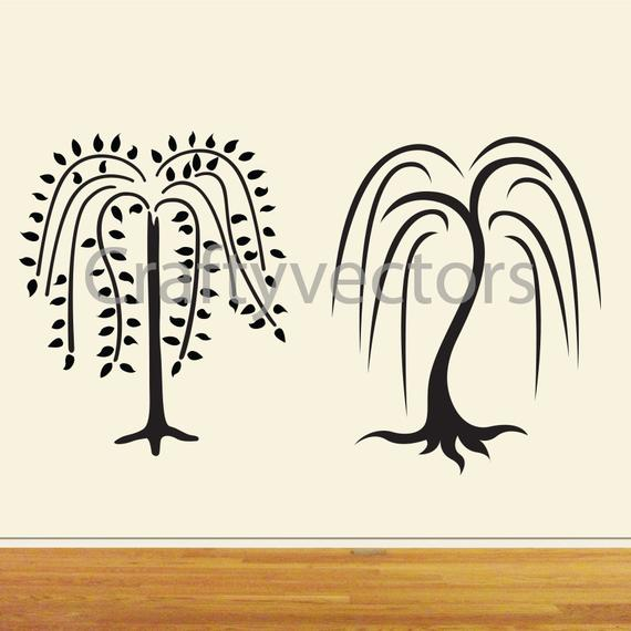570x570 Willow Trees Vector Wall Decal Cut File Etsy