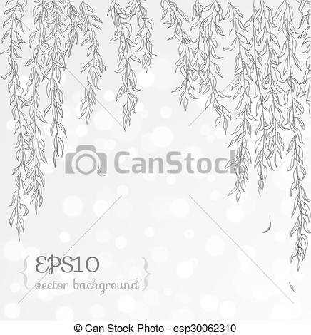 436x470 Romantic Floral Background With Willow Branches. Contains