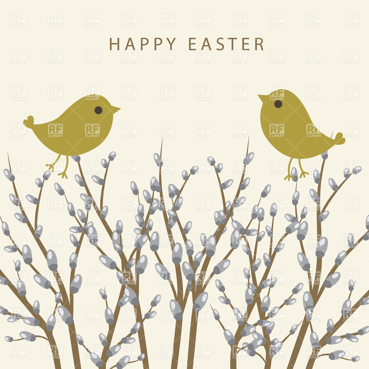 1200x1200 Spring Card With Violet Willow And Birds Vector Image Vector