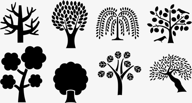 650x348 Vector Black Silhouettes Of Trees, Black, Trees, Willow Png And