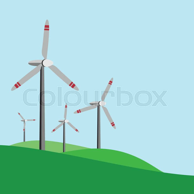 800x800 Power Plant Wind Turbine Vector , Power Plan Stock Vector