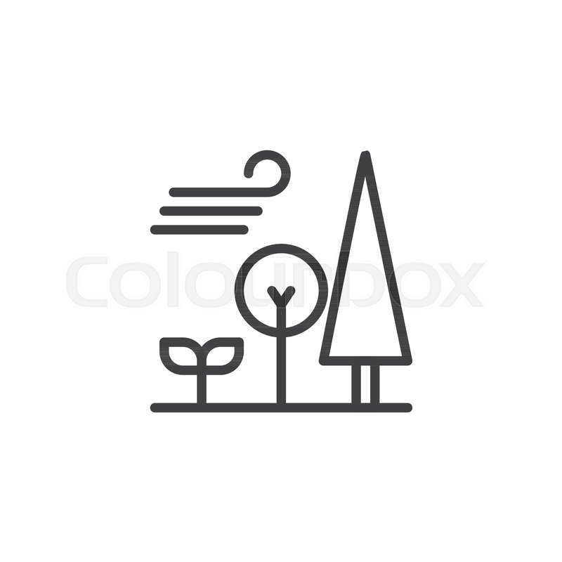 800x800 Forest Trees And Blowing Wind Outline Icon. Linear Style Sign For