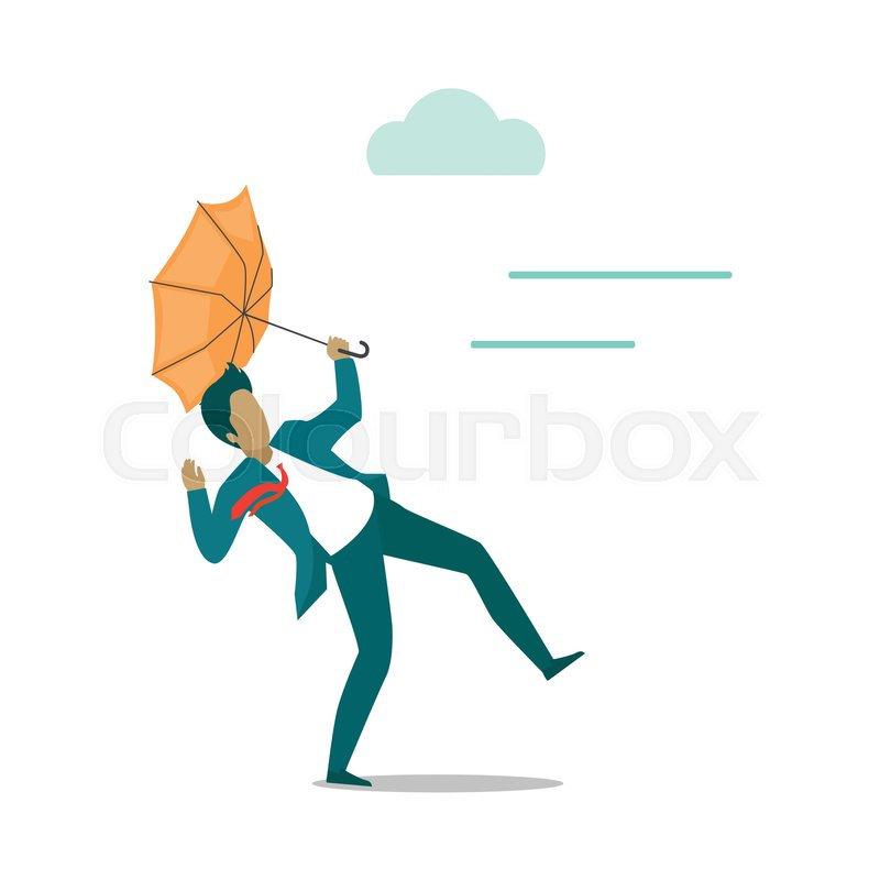 800x800 Strong Wind Blowing On Man With Umbrella And Turned It Out