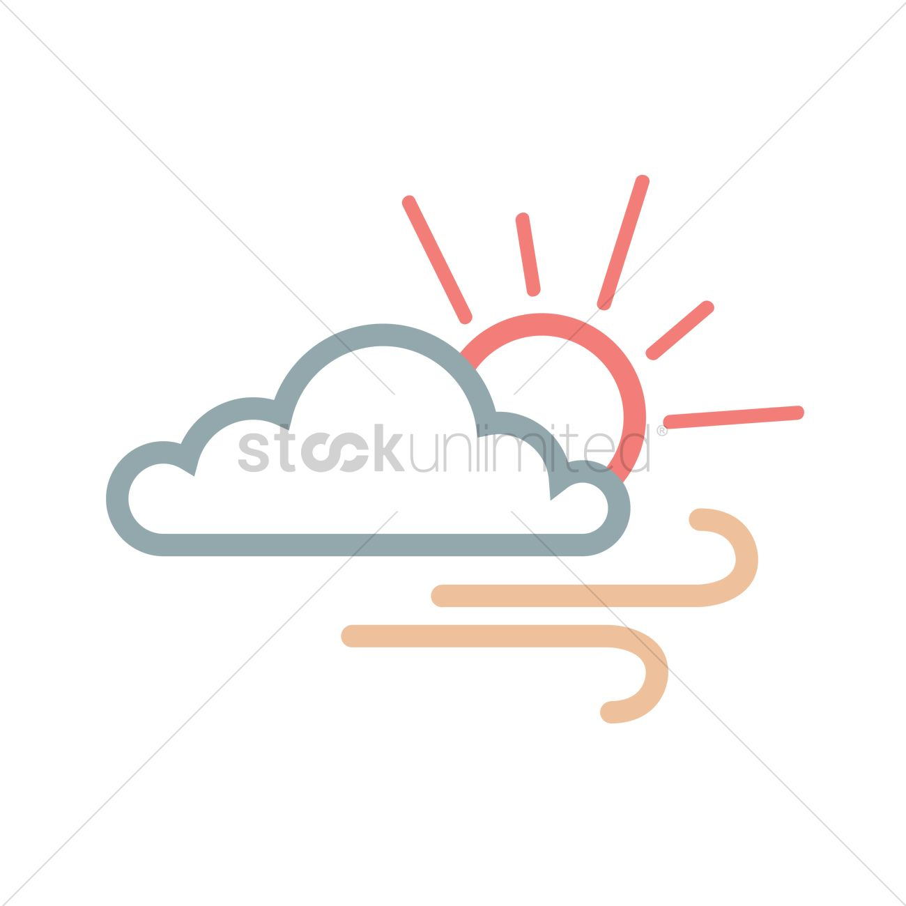 1300x1300 Free Cloud With Sun And Wind Vector Image