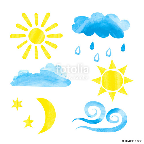 500x500 Set Of Watercolor Weather Icons. Watercolor Sun, Clouds, Moon