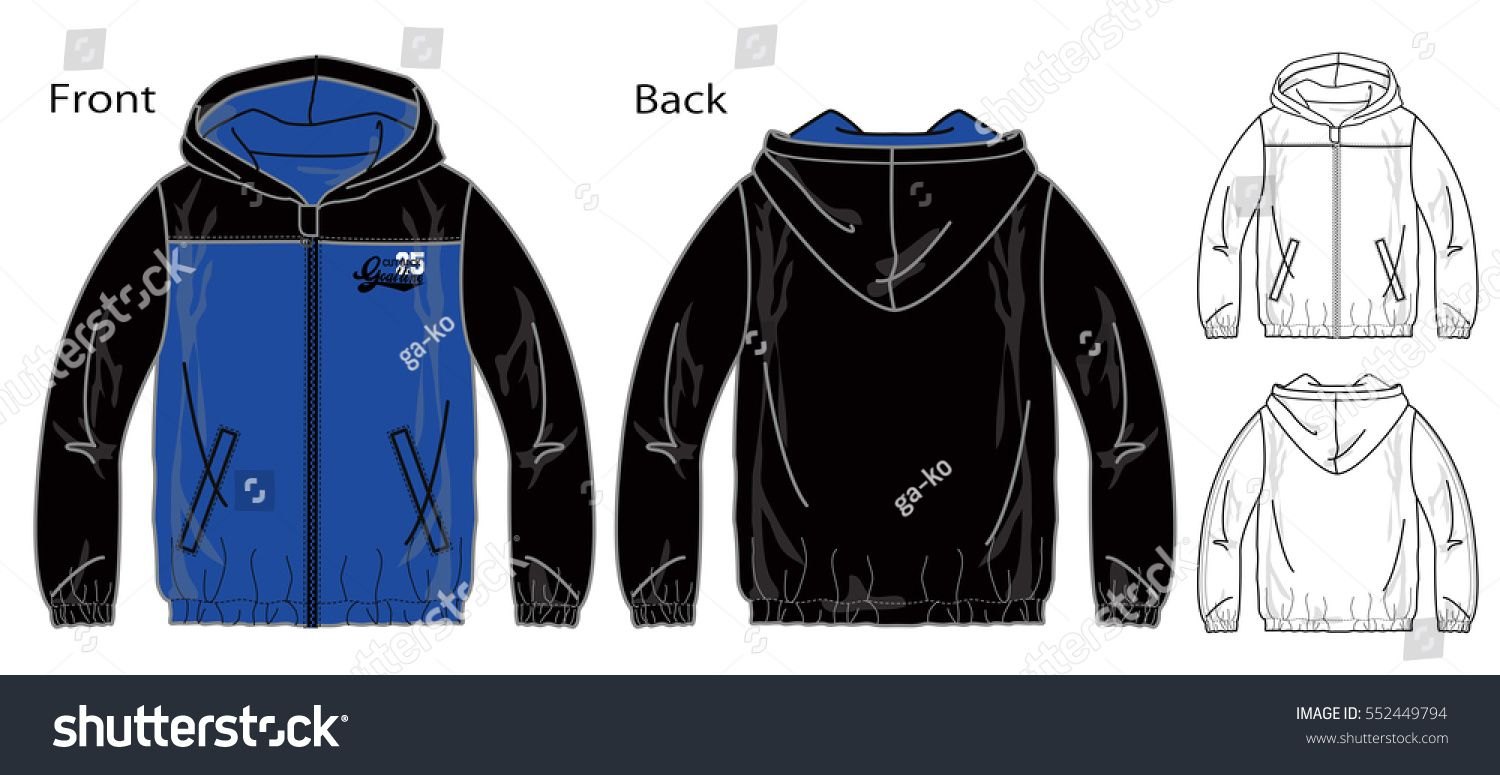 1500x775 Vector Illustration Of Windbreaker For A Zipper. Front And Back