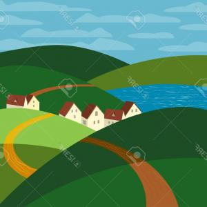 300x300 Vector Of A Winding Road To A Small City Town By Graphics Rf