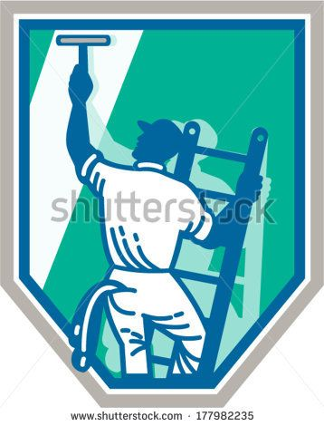 358x470 Illustration Of A Window Cleaner Cleaning A Window With Squeegee