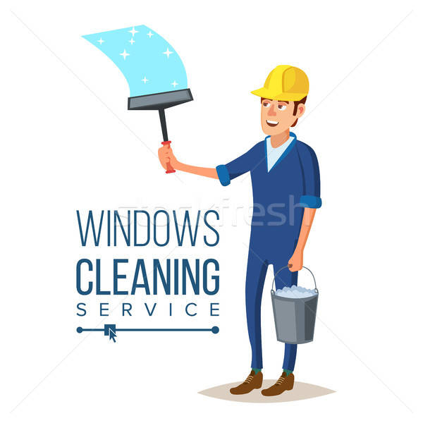 600x600 Skyscraper Cleaning Service Vector. Man With Bucket Of Water And
