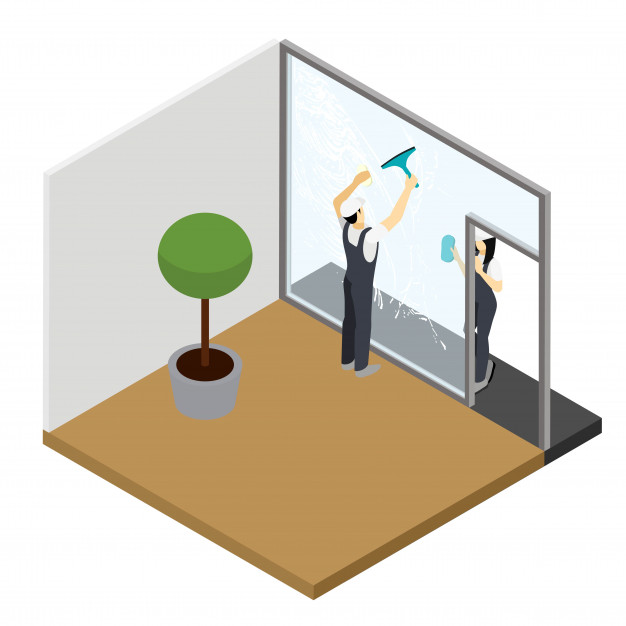 626x626 Window Cleaning Isometric Interior Composition Vector Free Download