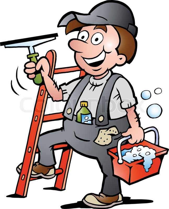 647x800 Hand Drawn Vector Illustration Of An Happy Window Cleaner Stock