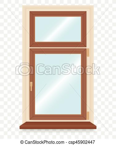 376x470 Realistic Wooden Plastic Window. Vector Illustration.