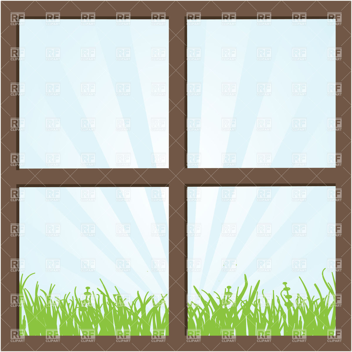 1200x1200 Summer Field And Sky Seen Through The Window Vector Image Vector