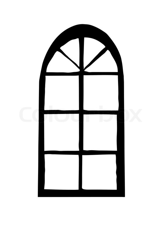 580x800 Vector Silhouette Window On White Background Stock Vector
