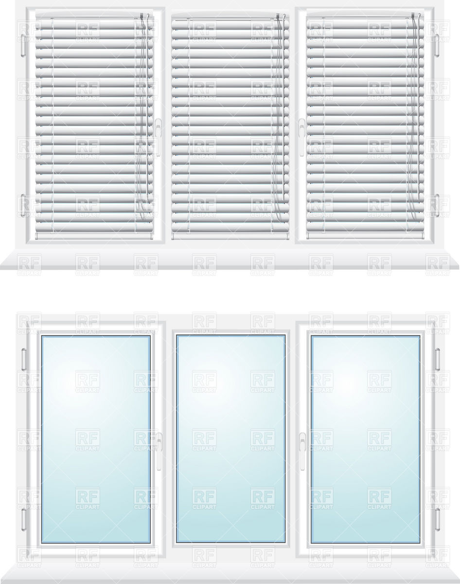 946x1200 Closed Three Sections Window With Jalousies Vector Image Vector