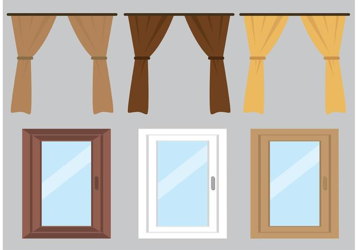 700x490 Free Vector Curtain And Windows