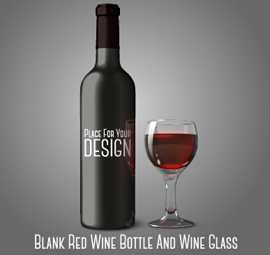 387x366 Blank Red Wine Bottle And Wine Glass Vector Free Vector In
