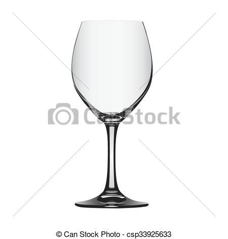450x470 Empty Red Wine Glass, Vector Illustration.
