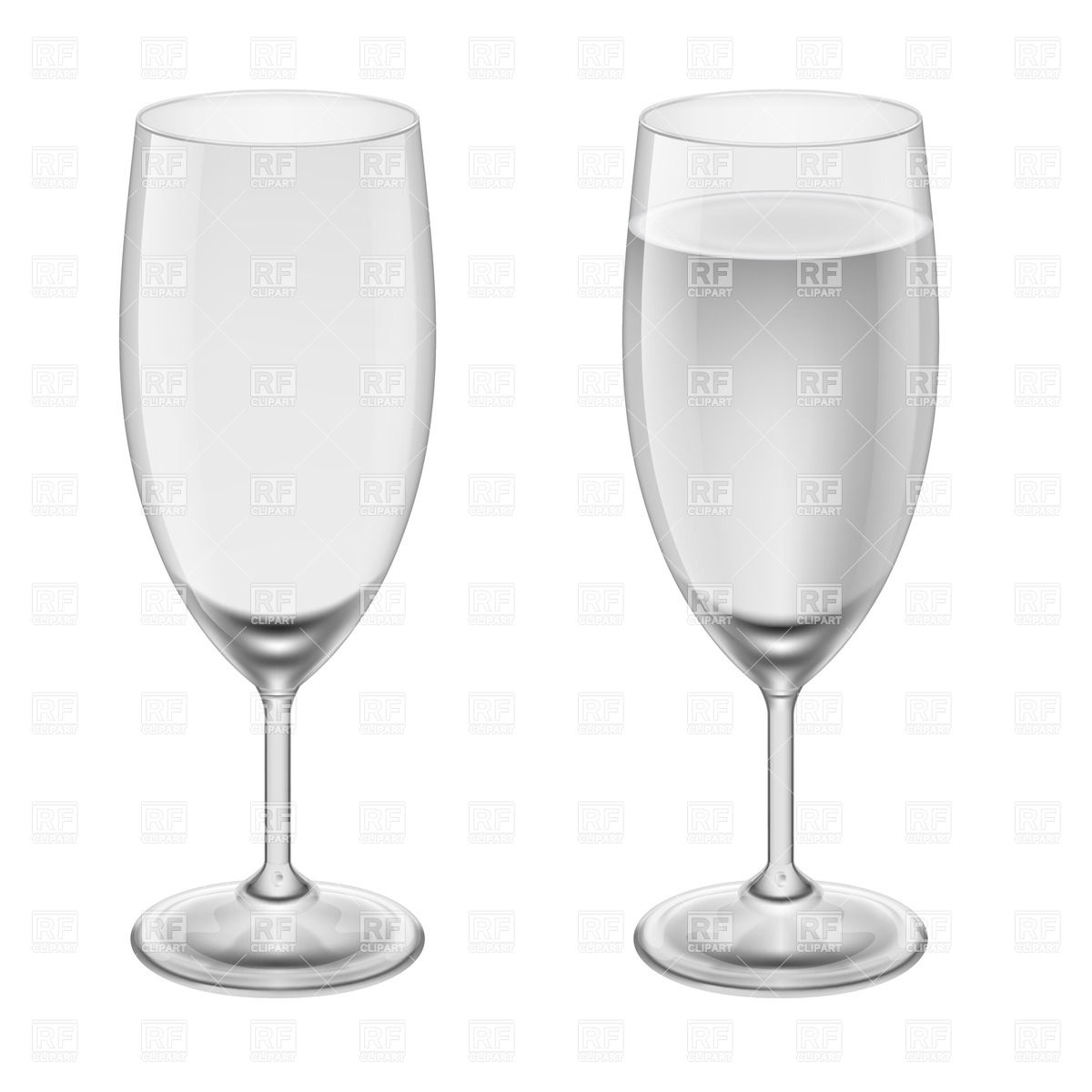 1200x1200 Empty Wineglass And Wineglasses With Water Vector Image Vector