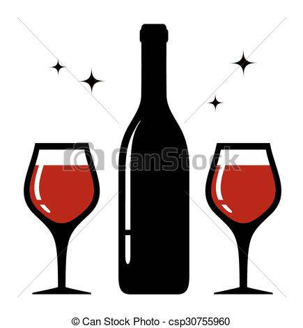 435x470 Isolated Bottle And Wine Glasses Icon. Isolated Icon With Bottle
