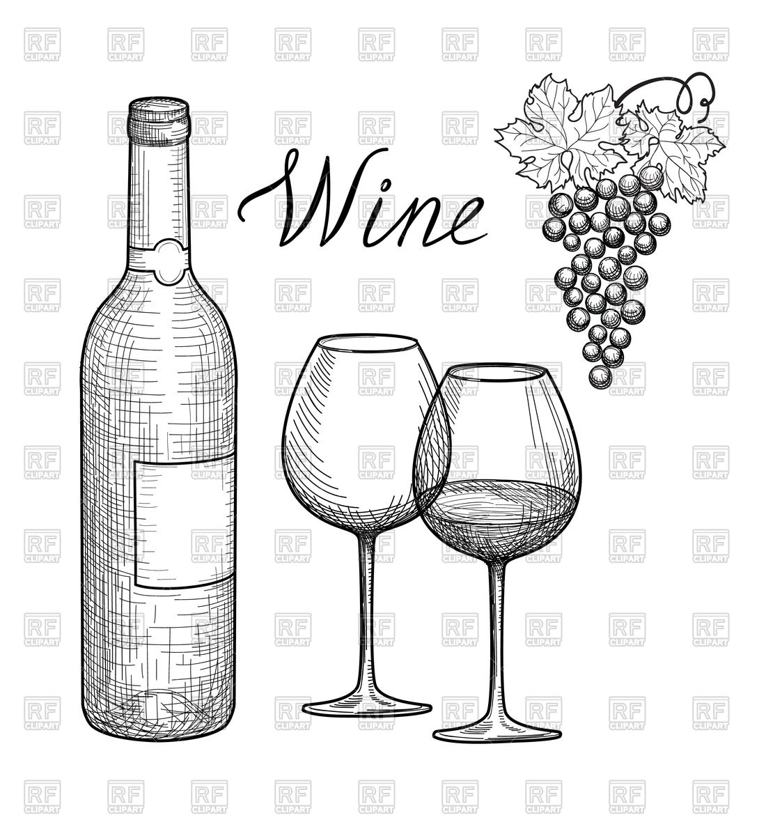 1100x1200 Wine Glass, Bottle And Grape Branch Vector Image Vector Artwork