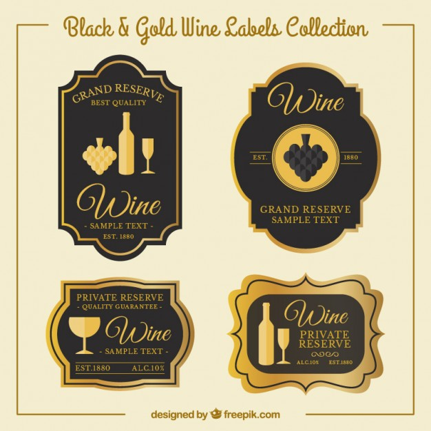 626x626 Luxury Wine Stickers In Vintage Style Vector Free Download