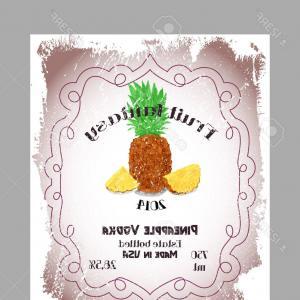 300x300 Photostock Vector Vintage Fruit Alcohol Label Template Pineapple