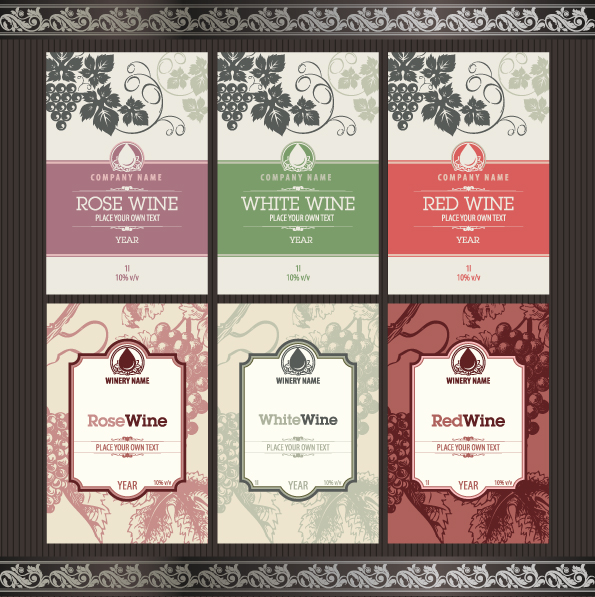 595x597 Vintage Elements Of Wine Labels Vector Material 02 Free Download
