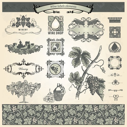 500x500 Vintage Elements Of Wine Labels Vector Material 05 Free Download