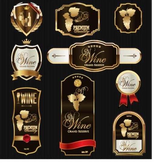 510x539 Luxury Golden Wine Labels Vector Free Download