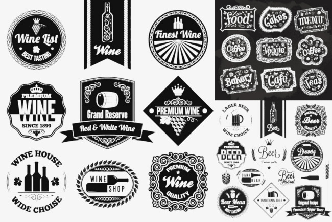 650x434 Creative Black Label Vector Material Food And Wine, Food Labelling