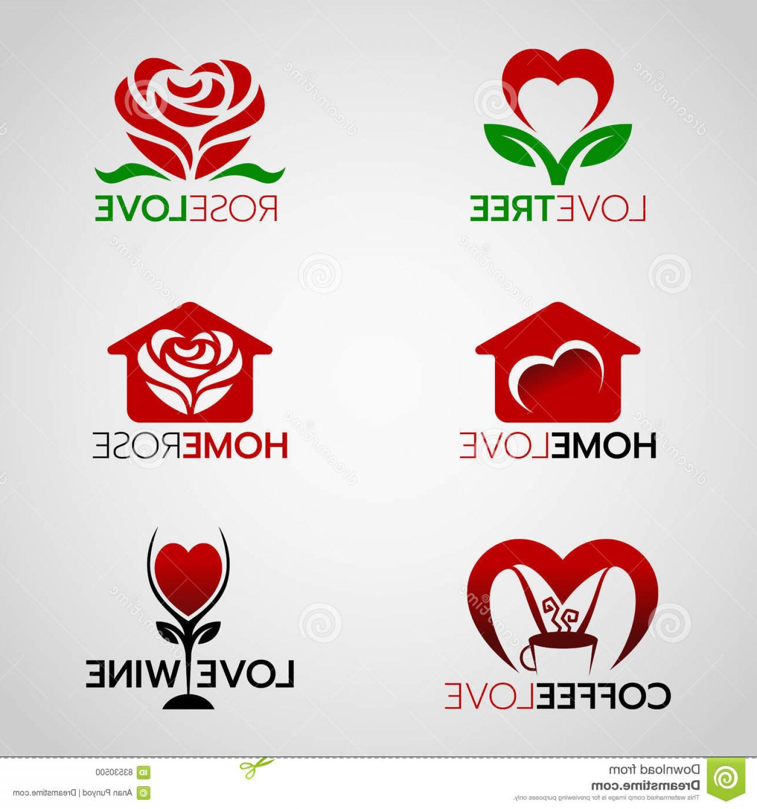 1560x1668 Stock Illustration Heart Rose Logo Home Love Logo Coffee Wine Logo