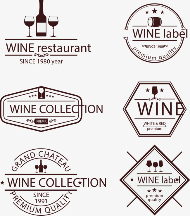 650x739 Vector Collection Of Hand Painted Wine Logo, Vector, Hand Painted