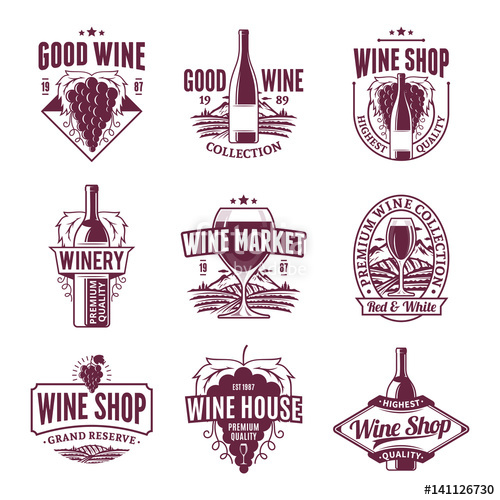 500x500 Vector Wine Logo, Icons And Design Elements Stock Image And