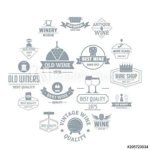 500x500 Wine Logo Icons Set. Simple Illustration Of 16 Wine Logo Vector